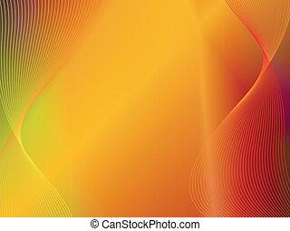 ouro, abstratos, amarela, onda, fundo, laranja