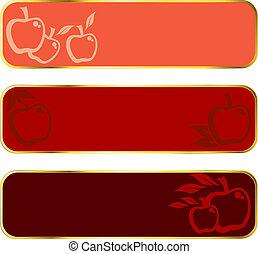 ouro, bandeiras, maçã vermelha, borda