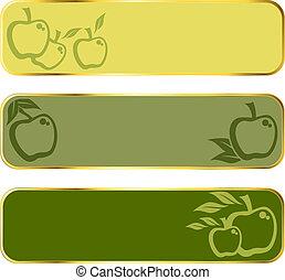 ouro, borda, bandeiras, maçã verde