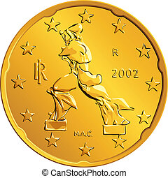 ouro, centavos, dinheiro, vetorial, euro, vinte, moeda, italiano