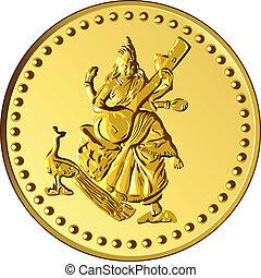 ouro, dinheiro, imagem, shiva, vetorial, moeda