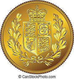 ouro, dinheiro, soberano, britânico, braços, vetorial, agasalho, moeda