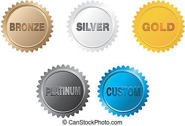 ouro, emblema, prata, platina, bronze