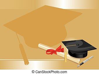 ouro, grau, universidade, saudação, faculdade, cartão