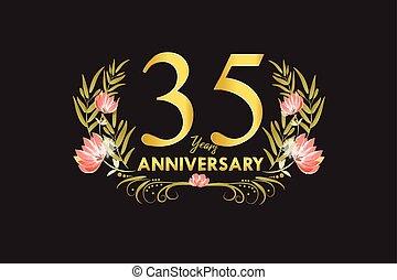 ouro, grinalda, aniversário, 35, anos, aquarela, vetorial