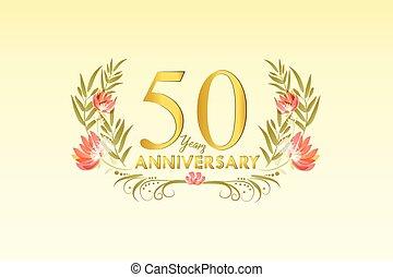 ouro, grinalda, aniversário, 50, aquarela, vetorial, anos