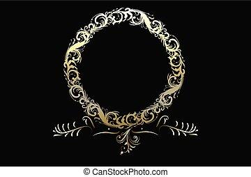 ouro, grinalda, elemento, vetorial, floral, logotipo