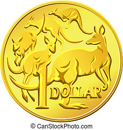 ouro, kangaro, imagem, dólar, dinheiro, vetorial, australiano