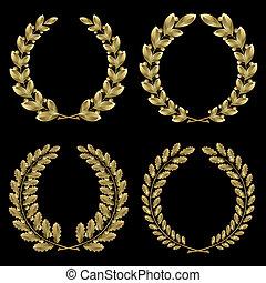 ouro, laurel, jogo, carvalho, grinalda