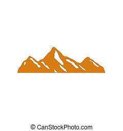 ouro, montanha, neve, desenho, ícone, branca