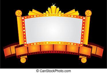 ouro, néon, cinema