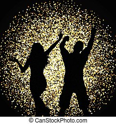 ouro, pessoas, dançar, silhuetas, fundo, brilhar