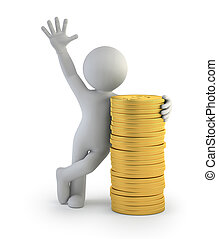 ouro, pessoas, moedas, -, pequeno, 3d
