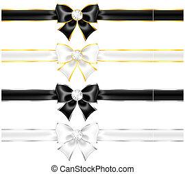 ouro, pretas, arcos, edging, diamantes, branca, fitas