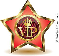 ouro, vetorial, vip., estrela