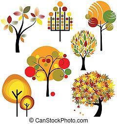 outono, abstratos, jogo, árvore