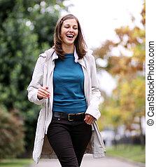 outono, andar, mulher, parque