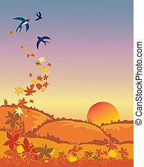 outono, andorinhas, partindo