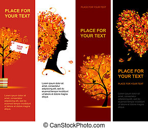 outono, bandeiras, desenho, seu, vertical