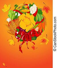 outono, bem-vindo, colheita