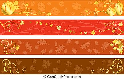 outono, cores, bandeiras, morno