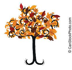 outono, desenho, árvore, seu, ilustração