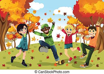 outono, estação, crianças, outono