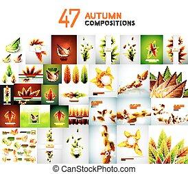 outono, jogo, fundos, natureza