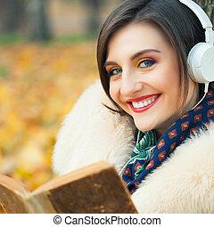 outono, mulher, parque, jovem