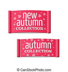 outono, novo, etiquetas, cobrança