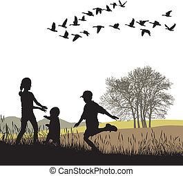 outono, país, crianças