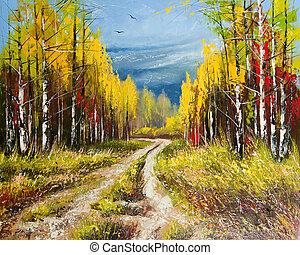 outono, quadro, óleo, -, ouro