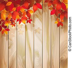 outono sai, madeira, fundo, textura