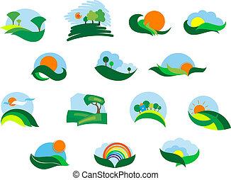outono, verão, agrícola, paisagem, ícones