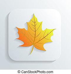 outono, vetorial, folha, ícone