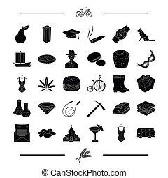 outro, jóia, viagem, pretas, transporte, pão, alimento, ícone, teia, jogo, collection., páscoa, style., ícones