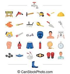 outro, pretas, arquitetura, predios, ícone, teia, jogo, collection., style., olympics, desporto, boxe, ícones