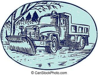 oval, arado, caminhão, neve, cauterizando