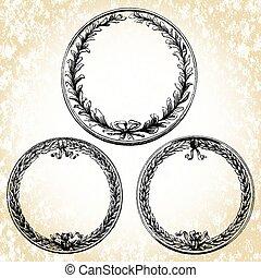 oval, bordas, vetorial, grinalda