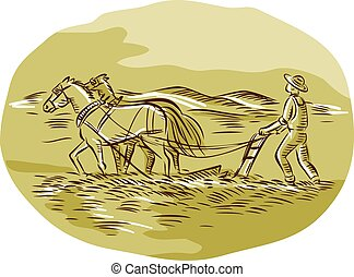 oval, cauterizando, agricultor, arar, campo, cavalos
