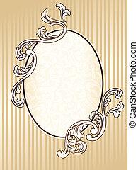 oval, elegante, quadro, sepia, vindima