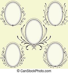 oval, floral, ornamento, bordas