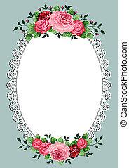 oval, vindima, quadro, rosas