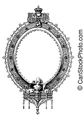 oval, vitoriano, vetorial, quadro, fantasia