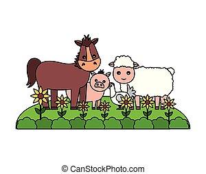 ovelhas cultivam, cavalo, galinha, fresco