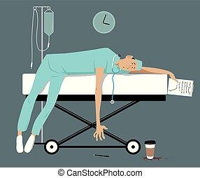 overworked, doutor, cansadas