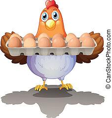 ovos, bandeja, galinha, segurando