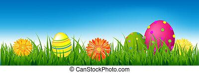 ovos páscoa, capim, bandeira, feliz