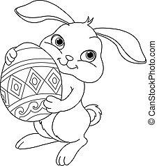 páscoa, coloração, página, bunny.