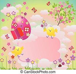 páscoa, coloridos, cartão